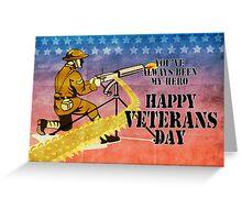 World War One American soldier firing machine gun Greeting Card