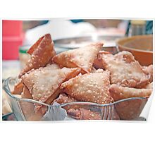 fried samosa in a bowl. Poster
