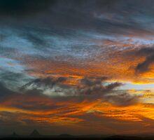 Sky Inferno - Glasshouse Mountains by Matt Haskins