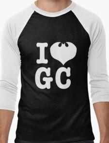 I Love GC: White Text Men's Baseball ¾ T-Shirt