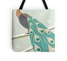winter christmas peacock Tote Bag