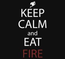 fairy tail natsu keep calm and eat fire anime manga shirt by ToDum2Lov3