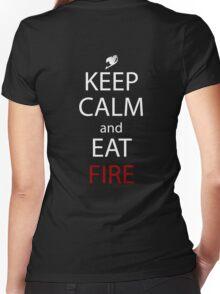 fairy tail natsu keep calm and eat fire anime manga shirt Women's Fitted V-Neck T-Shirt