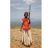 GIRL WITH AN AK47 Photographic Print