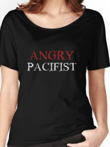 Angry Pacifist - Red And White Ink Women's Relaxed Fit T-Shirt