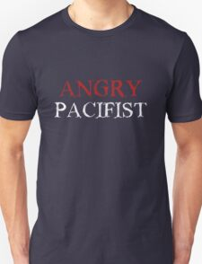 Angry Pacifist - Red And White Ink Unisex T-Shirt