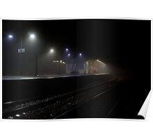Trainstation in the mist Poster