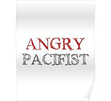 Angry Pacifist - Red And Half Black Ink Poster