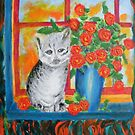 Sad Kitten with Roses by George Hunter