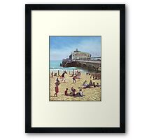 people on Bournemouth beach :Pier theatre Framed Print
