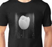 White Tulip on Black Unisex T-Shirt