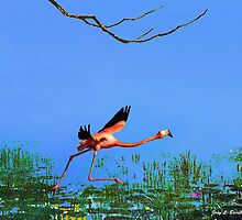 Pink Flamingo Take off by artstoreroom