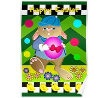 Happy Easter card with Bunny and Chickens Poster