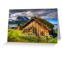 Traditional Houses at Hella, Kvaloy. Tromso, North Norway. Greeting Card