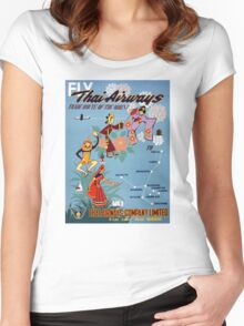 Thai Vintage Air Travel Poster Restored Women's Fitted Scoop T-Shirt