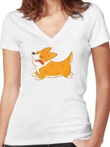 Corgi Women's Fitted V-Neck T-Shirt