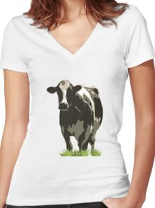 Cow in a Field 02 Women's Fitted V-Neck T-Shirt