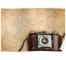 Antique map and photo camera. Poster