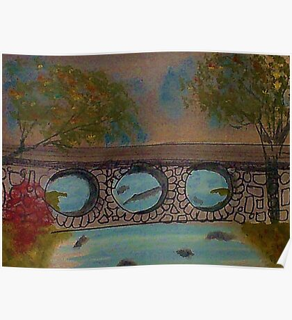 Bridge over the River in the Spring, watercolor Poster