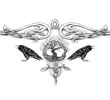 Odin Tree of Life and Ravens Hugin and Munin  by wildwildwest