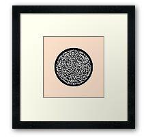 Modern Black & White Scribbles Pattern Circle Maze Framed Print