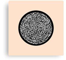 Modern Black & White Scribbles Pattern Circle Maze Canvas Print