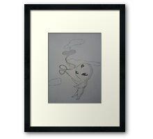 Alien with a Heart Balloon Framed Print