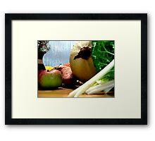 Vegetables on Bench Framed Print