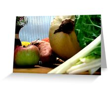 Vegetables on Bench Greeting Card