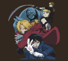fullmetal alchemist edward alphonse elric hawkeye riza roy mustang havoc jean anime manga shirt by ToDum2Lov3