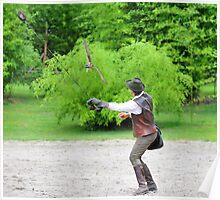 falconer and hawk Poster