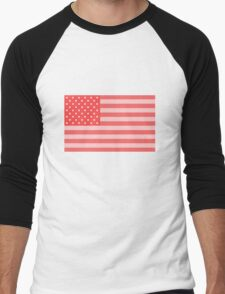 Pink Stars and Stripes Men's Baseball ¾ T-Shirt