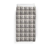 Newspaper Grey Scale Duvet Cover