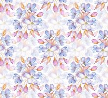 Branch with delicate flowers.  Watercolor seamless pattern by Gribanessa