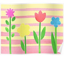 Flower Bed On Baby Pink Poster
