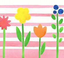 Flowers Garden On Baby Pink by Irina Sztukowski