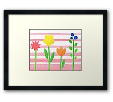 Flowers Garden On Baby Pink Framed Print