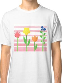 Flowers Garden On Baby Pink Classic T-Shirt