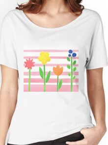 Flowers Garden On Baby Pink Women's Relaxed Fit T-Shirt