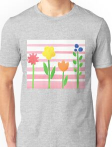 Flowers Garden On Baby Pink Unisex T-Shirt