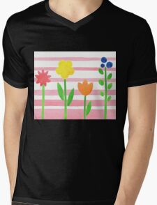 Flowers Garden On Baby Pink Mens V-Neck T-Shirt