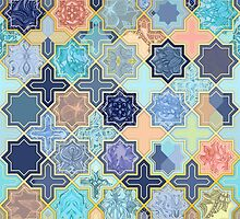 Peach and Blue Geometric Tile Pattern by micklyn