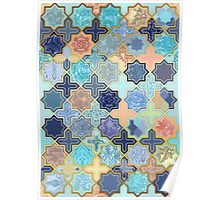 Peach and Blue Geometric Tile Pattern Poster