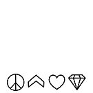 Peace, Chevron, Love, Diamond - grey on white by VMDolphin