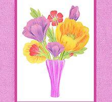 Flowers In The Vase On Baby Pink by Irina Sztukowski