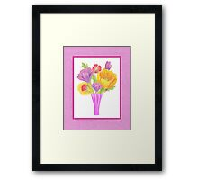 Flowers In The Vase On Baby Pink Framed Print