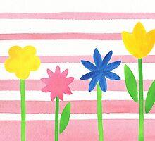 Baby Pink Stripes Flowers by Irina Sztukowski