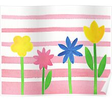 Baby Pink Stripes Flowers Poster