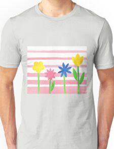 Baby Pink Stripes Flowers Unisex T-Shirt