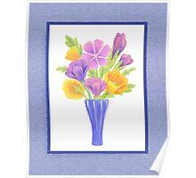 Baby Blue Flower Bouquet  Poster